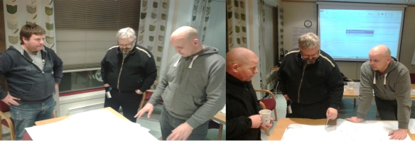 13.2.2013: Fra ett av mange møter i arbeid med søknad om idrettsfunksjonell forhåndsgodgjenning. Ragnar Norum, Alf Birger Rostad, Tore Brenne og Lars Erik Bjørås.